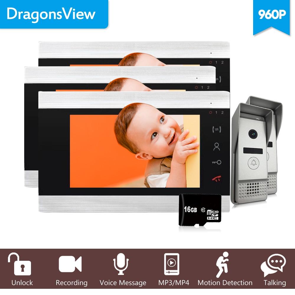 Dragonsview Video Door Phone 3 Monitors 7 Inch Recording 960P HD Doorbell Camera Intercom Wired Waterproof Home Video Door Entry
