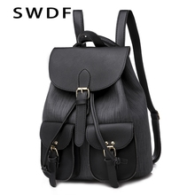 SWDF Fashion Lady Bag Anti-theft Women Designer Solid Backpack High Quality Travel Female Shoulder Girl Purse