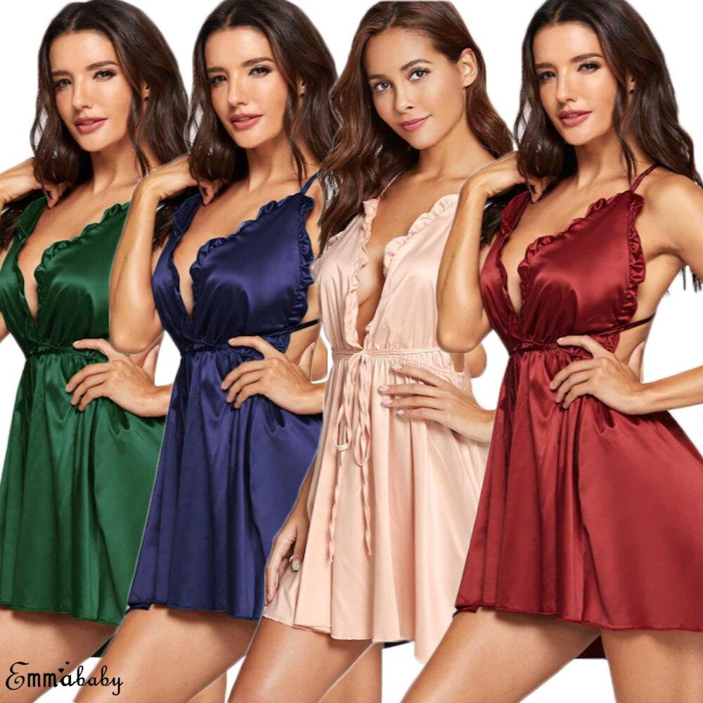 New Hot Sexy Women Lingerie Mini Dress Babydoll Ladies Underwear Sleeveless Nightwear Backless Sleepwear V Neck Nighty S-XL 2019 6