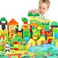 Animales del bosque 100 UNIDS Bloques Niñas 1-6 años Juguetes Educativos Del Bebé de Protección Ambiental De Madera Niños Criatura Boy Toy