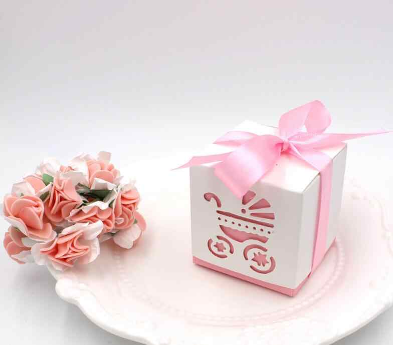 50pcs Baby Carriage Laser Cut Candy Box Gift Sweet Boxes Girl Boy Shower 1st Birthday