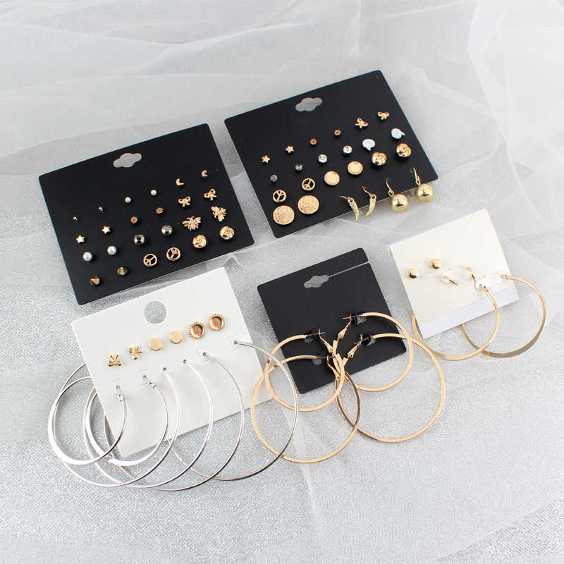 Super Value Personality Fashion Bright Aky Design Moon Star Heart Ball Peace Crystal Stud Big Circle Hoop Earring Set Women