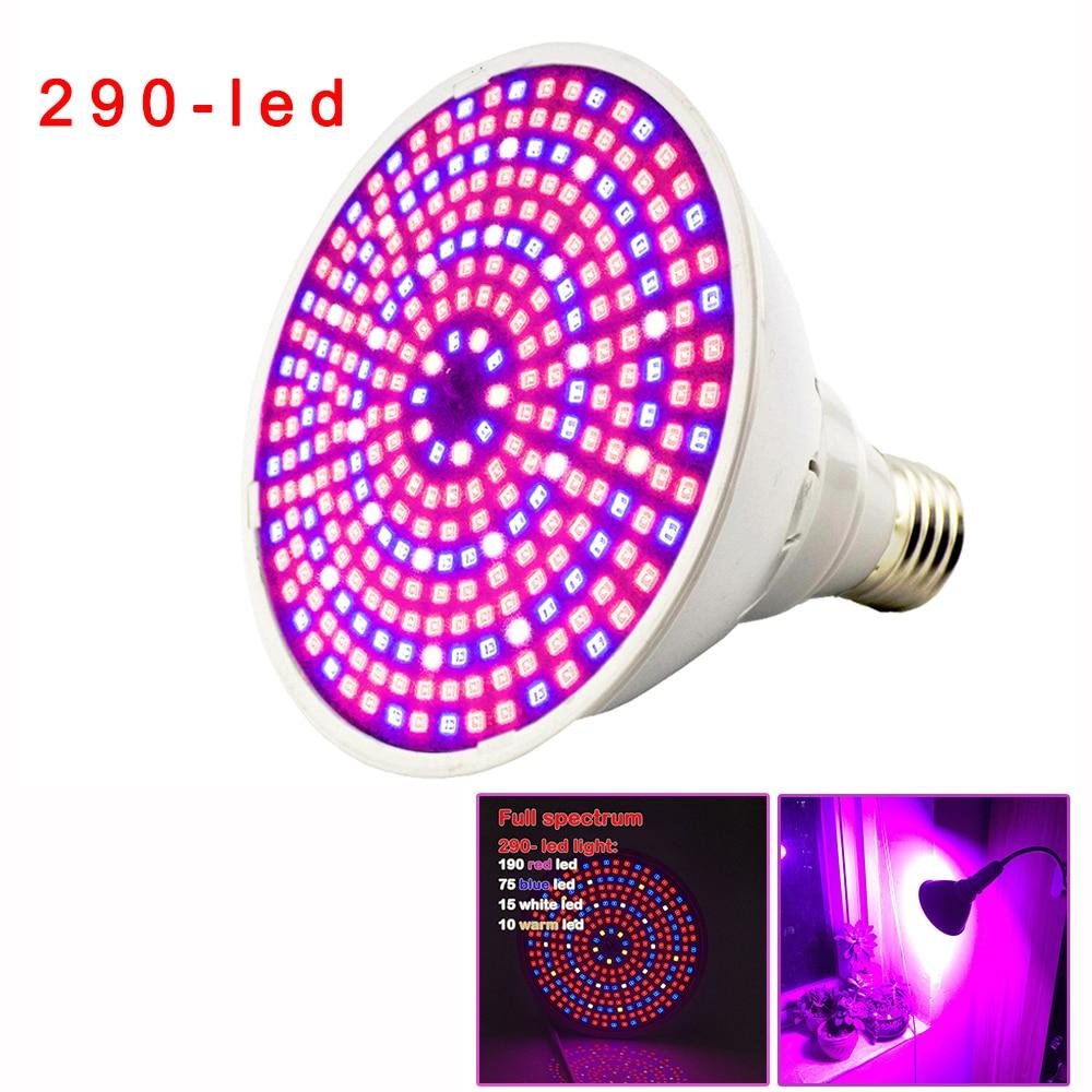 2018 New 290 Led Plant Grow Light Lamp Full Spectrum E27 Lights Hydroponics Green House Bulb For Seeds Flower Vegetable Lighting