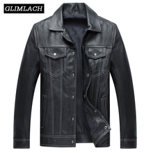 Men Casual Genuine Leather Coat Brand Luxury Sheepskin Real