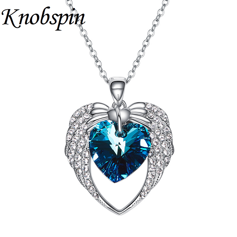 Classic Blue/Purple Heart Crystal Pendant Necklaces Sparkling Heart Rhinestone Necklace Women Fashion Jewelry Engagement