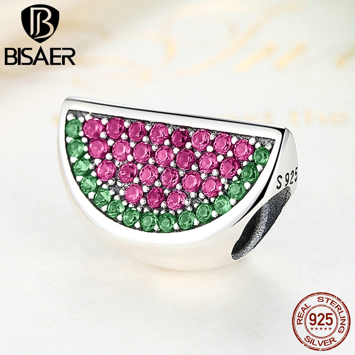925 Sterling Silver Pave Watermelon Apple, Red & Green CZ Fruit Charms Fit BISAER Bracelets & Bangles Women Accessories WEUS345 цена 2017