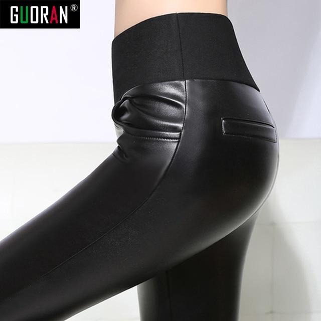 Pantalon dhiver en Faux cuir pour femmes, grande taille 6XL, taille haute, Legging épais, crayon slim, décontracté, pour le travail
