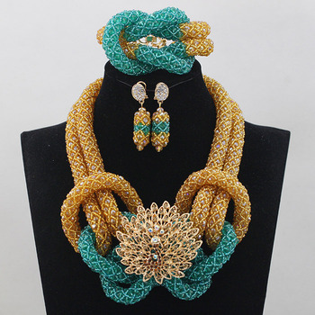 2017 Trendy Crystal Beads Necklace Set Gold Blue Mix Statement Chunky Jewelry Set Bridesmaid Jewellery Set Free Shipping ABL528
