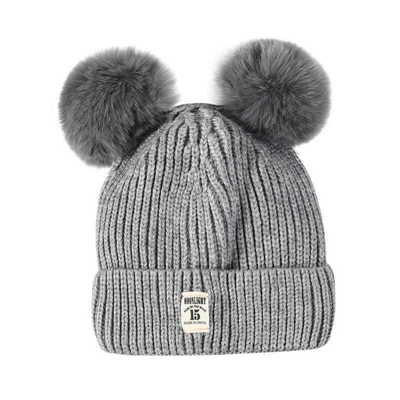 7c726215e3 MOONLIGHT label Double ball Cotton Caps Children Geometric Patchwork  Knitted Winter Hats Fur Pompom Boy Girls Ears Hat Kids Warm