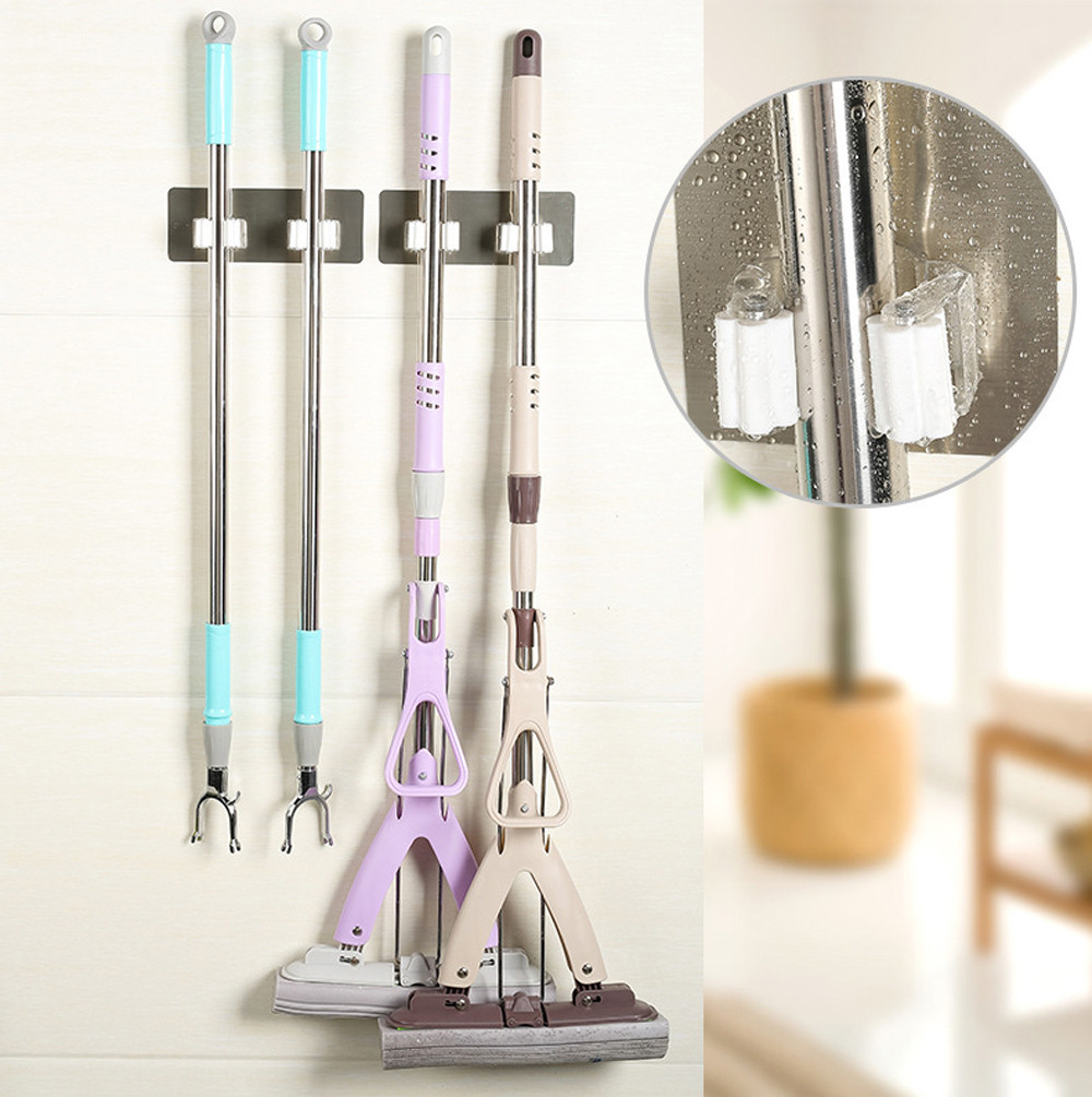 Wall Mounted Mop Holder Brush Broom Hanger Storage Rack Kitchen Organizer with Mounted Accessory Hanging Cleaning Tools