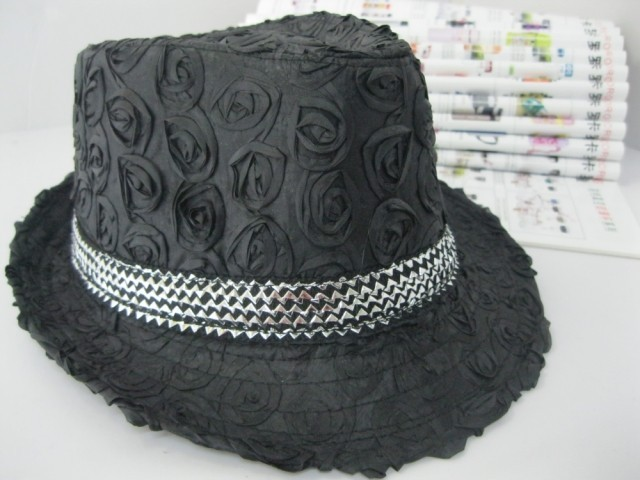 Spring and autumn male hat fashion jazz hat for man fedoras black and white rose hat