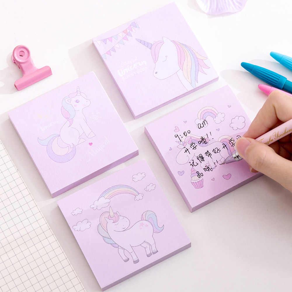 1 pièces bloc-Notes dessin animé mignon licorne Notes autocollantes bloc-Notes étiquette marque Kawaii papeterie fournitures scolaires
