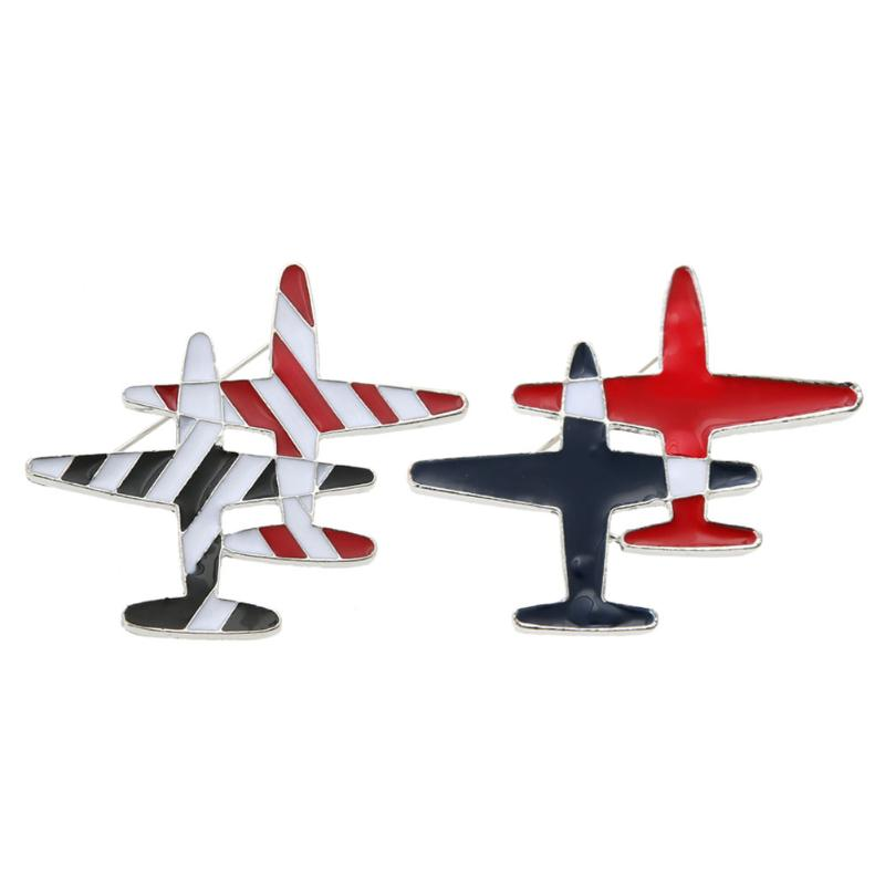Black&red Stripe Aircraft Plane Hat Jeans Jacket Collar Lapel Pins Badge Men Women Airplane Jewelry