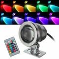 IP68 10 watt RGB LED Licht Garten Brunnen Pool Teich Scheinwerfer Wasserdichte Unterwasser Lampe mit Fernbedienung Schwarz/Silber-in LED-Strahler aus Licht & Beleuchtung bei
