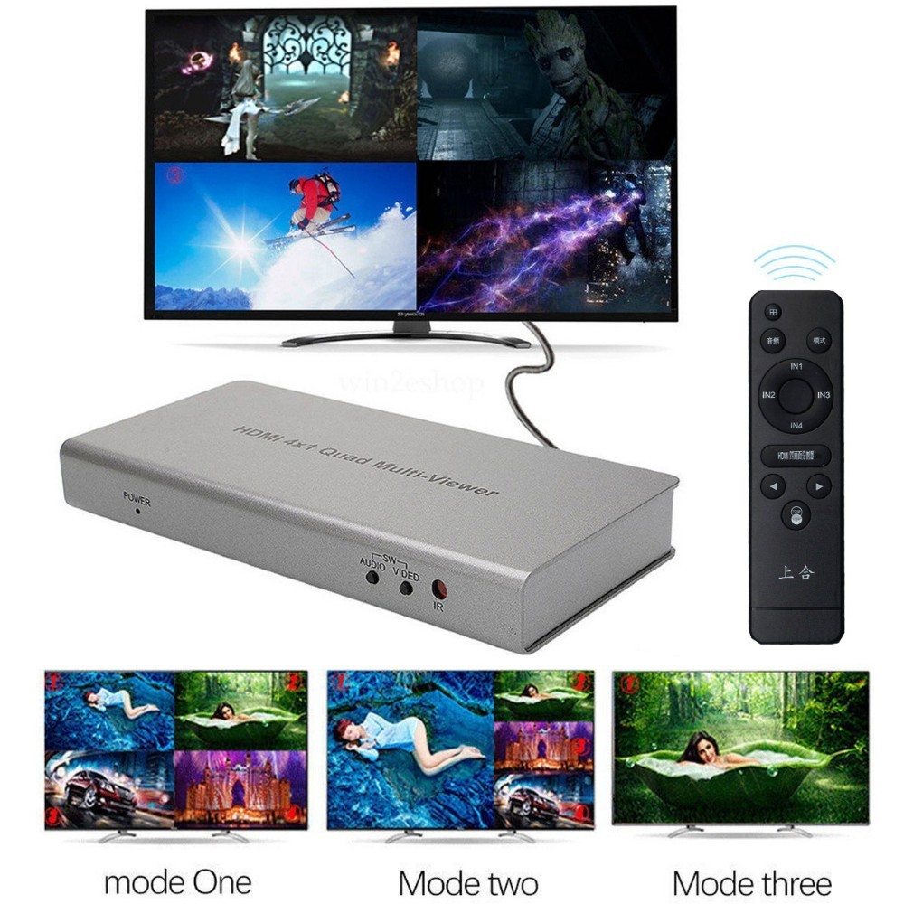 Seamless Switcher Remote 4X1 1080P HDMI Multi-viewer PIP Quad Screen Real Time
