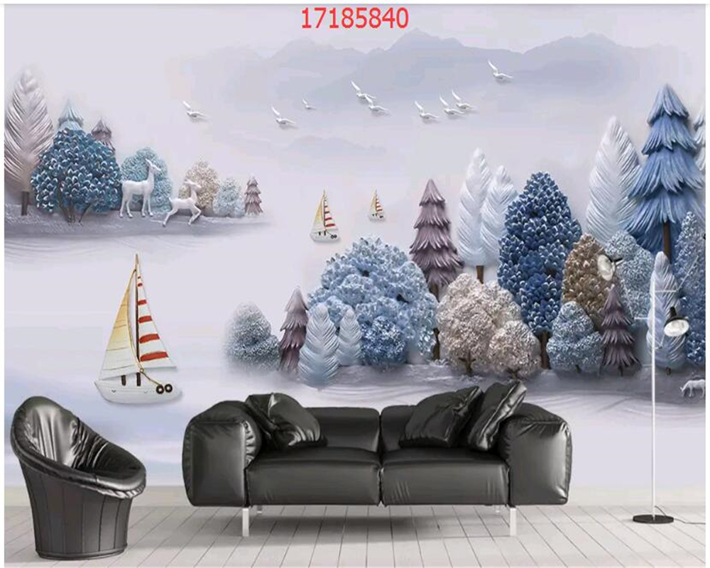 beibehang Custom size new Chinese embossed three-dimensional ink landscape 3D painting wallpaper decoration