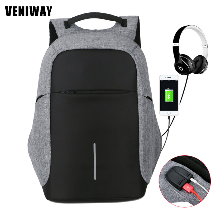 VENIWAY Anti-theft Backpack XD City Design USB Charging Men Laptop Backpacks Male Mochila Waterproof Multifunctional Backpack