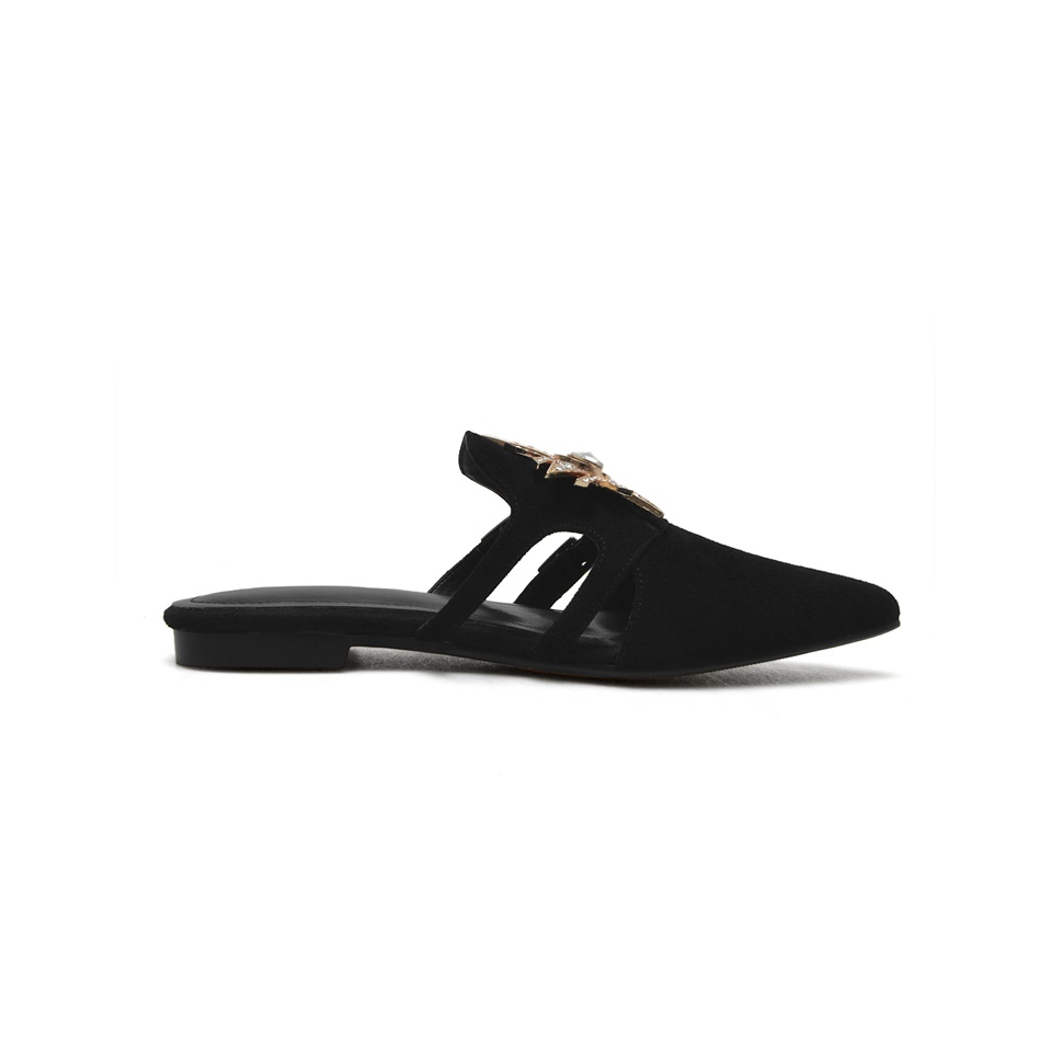 Fashion Women Flat Slipper Spring Autumn Outside Women Slides Pointed Toe Casual Mules Women Shoes size 34 43 in Slippers from Shoes