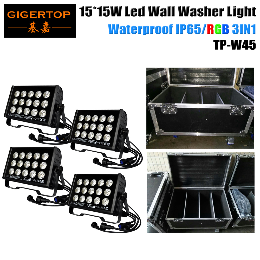 4IN1 Roadcase Pack with Wheels Pack 4 x 15x15W RGB Waterproof IP65 Led Wall Washer Light DMX 8 Channels Strobe/Sound/Auto Change