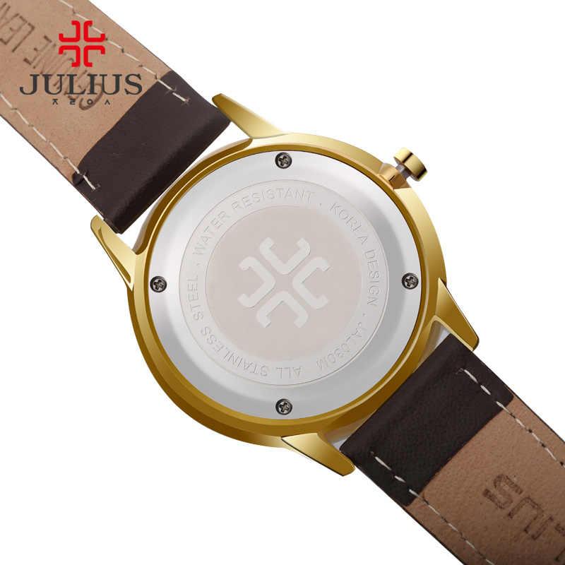 Julius de moda del cuarzo de Japón potenciometro Movt vertical de acero inoxidable tornillo caso cuero Correa Auto fecha Simple Reloj clásico de las mujeres 2017 JAL-030