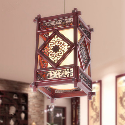 Chinese country handmade dark red wood art Pendant Lights Carved white parchment shade E27 LED lamp for stairs&cafe&porch MF030