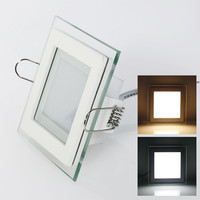 Free Shipping 6W 12W 18W Glasses Led Square Panel Recessed Wall Ceiling Downlight AC85 265V White