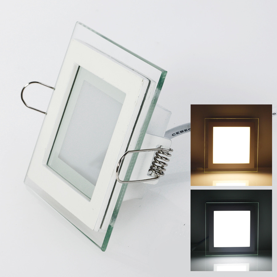 6W 9W 12W 18W LED Panel Downlight Square Lampu Penutup Kaca Siling Bright Bright Ceiling Light AC85-265 + Pemandu