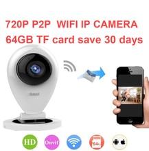 64G save 30day baby monitor camera 720P H.380 P2P network camera Video Surveillance WiFi IP Camera P2P camera 1K peopel to watch