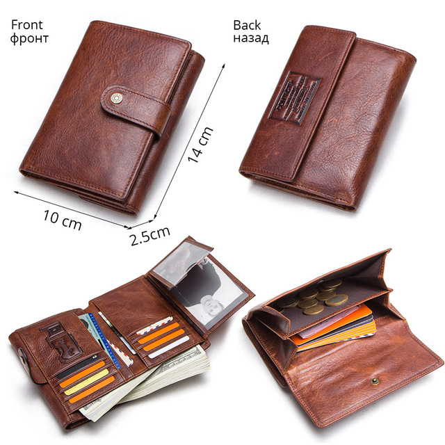CONTACT'S crazy horse cow leather RFID men wallets credit card holders mens wallet with coin pocket brand walet male clasp purse 5
