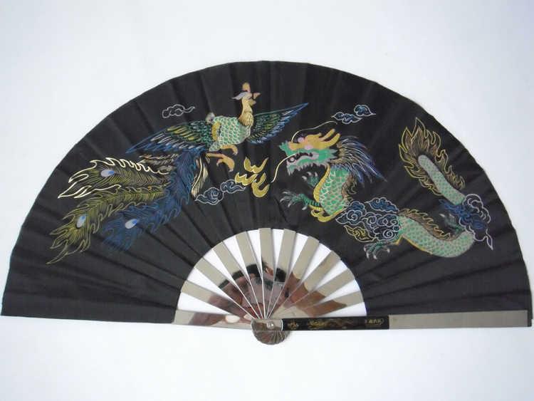 Top qualität dicken edelstahl drachen-phoenix zwei-seiten muster kampfkunst taiji fan kung fu tai chi wushu leistung fan