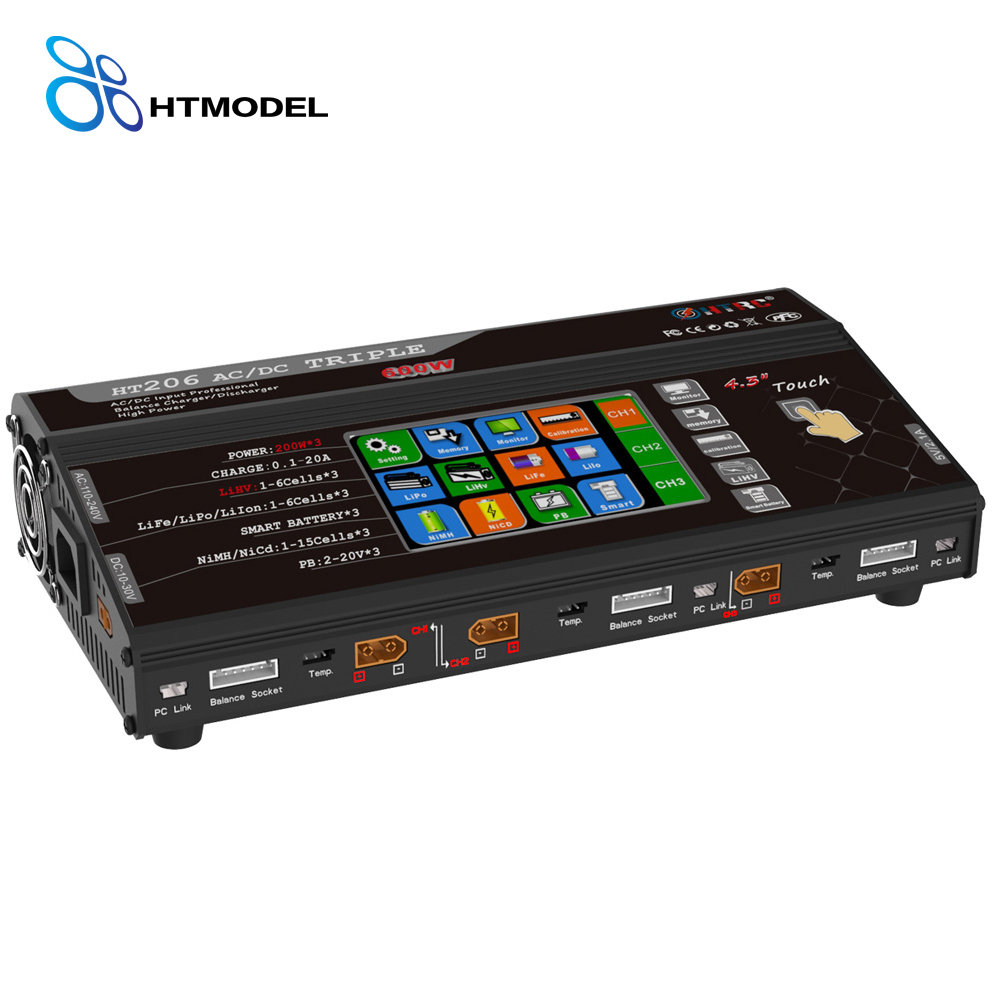 HTRC HT206 AC/DC TRI 200W*3 20A*3 Triple Port RC Balance Charger For Lilon/LiPo/LiFe/LiHV Battery 4.3 Color LCD Touch Screen image