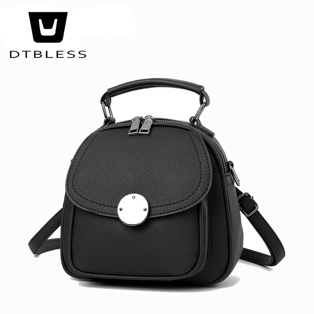 DTBLESS Mini New Korean Backpacks Fashion PU Leather Women Shoulder Bag  Solid Pattern Small Backpack Girls C9628-1 88a842e76e187