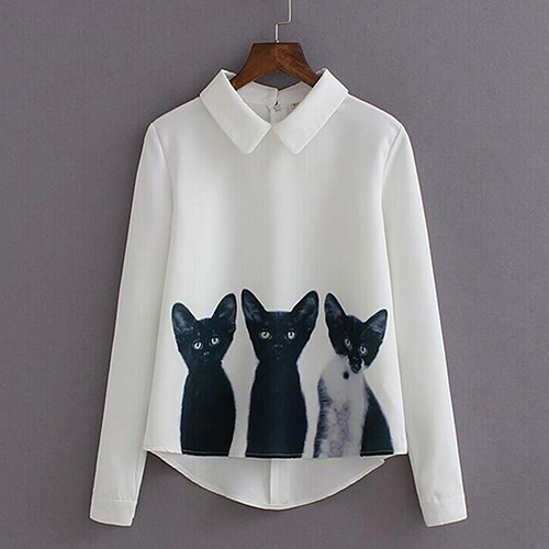 Fashion Women Long Sleeve Lapel All-Match Cat Pattern Blouse Shirt Casual Top