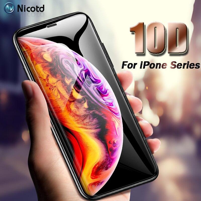 b4626d43a1c 10D Film Protector de pantalla para iPhone 7 XS MAX 8 Plus vidrio templado  Anti-huella digital para iPhone X 7 8 XS MAX película de pantalla ...