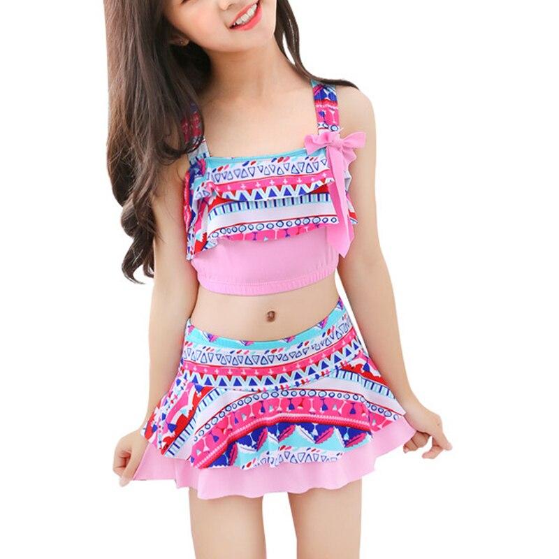 Girls Two Pieces Swim Suits With Cap Children Swimwear Kids Bathing Suits Girls Swimsuits Skirt Beach Wear Maillot De Bain Femme