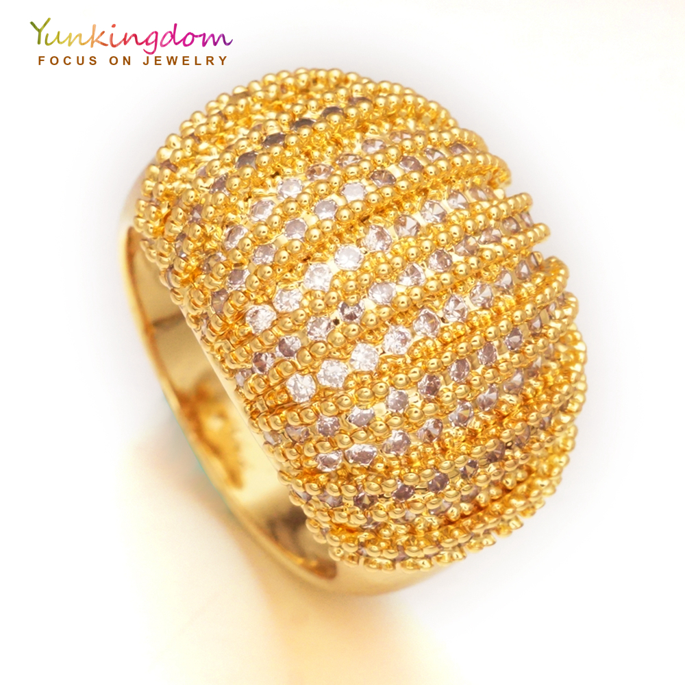Yunkingdom Luxury party ring pave cubic zirconia gold-color finger rings for women romantic jewelry K1888