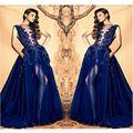 Vestidos de baile de luxo elegante bateau mangas azul royal evening dress 2017 partido pageant vestidos vestido de festa