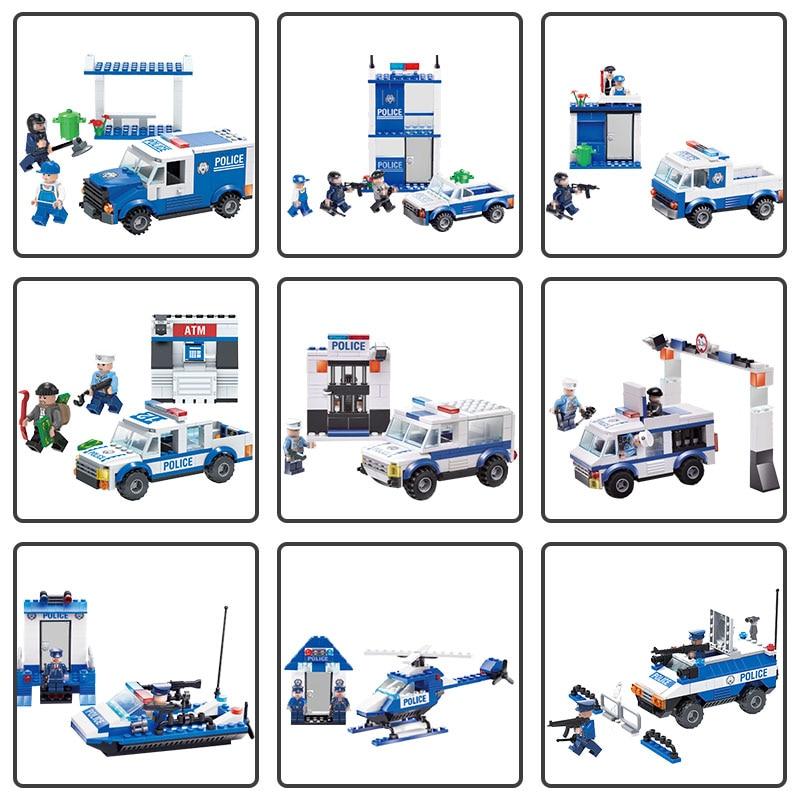 Galleria fotografica Giocattoli Brinquedos Serie Polizia Modello Set di Costruzione Assemblato Classico Mattoni FAI DA TE Educativi <font><b>LegoINGlys</b></font> <font><b>Technic</b></font> Bambini
