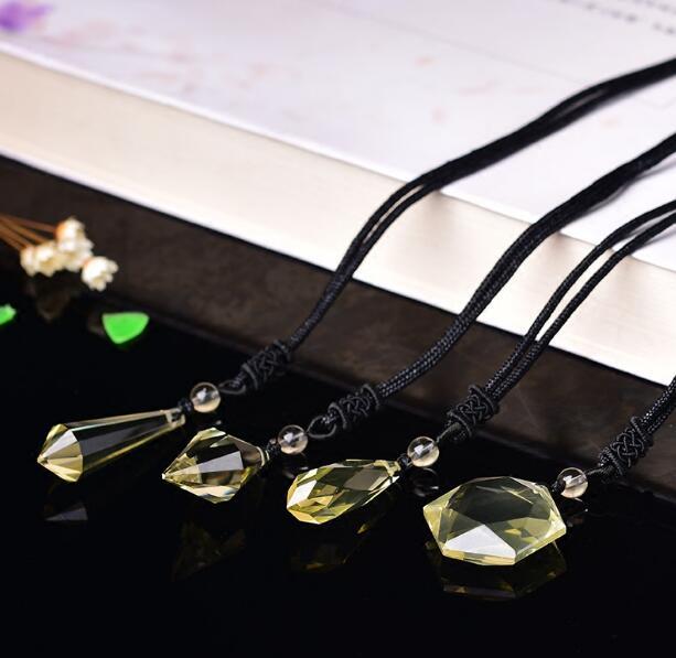 Natural yellow crystal spirit pendulum pendant men and women pendant drop the six mount star necklace