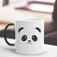 Creative Cute Panda Pattern Round Thermal Transfer Color Single Layer 301 400ml Home, Office Changing Mug Cup