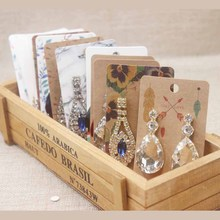 2019New Jewelry Display Card Colorful Design Paperboard Earring Gift Marble Flower 5x9cm Card50+50oppbag