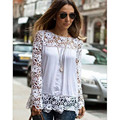 Ladies Flower Design Chiffon Lace Blouse 2017 long Sleeve Hollow Women Tops Elegant Patchwork Women Shirts Plus Size Blusa