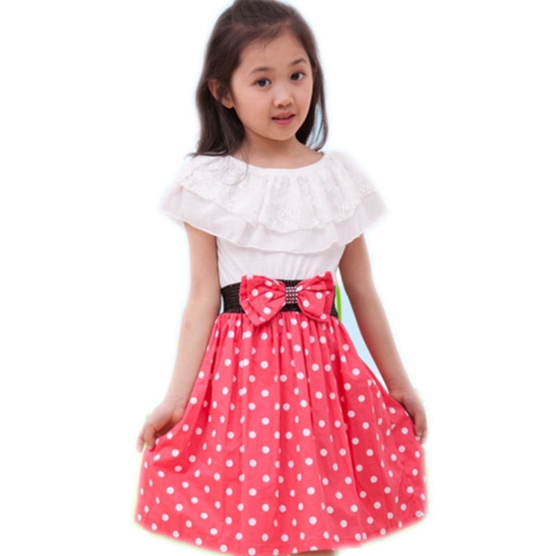Summer Grils Dress Dot Fashion Bow Girls Dresses Children Polka Dot Dress Clothing Baby Girls Clothes 4-14Y Summer Dress стоимость
