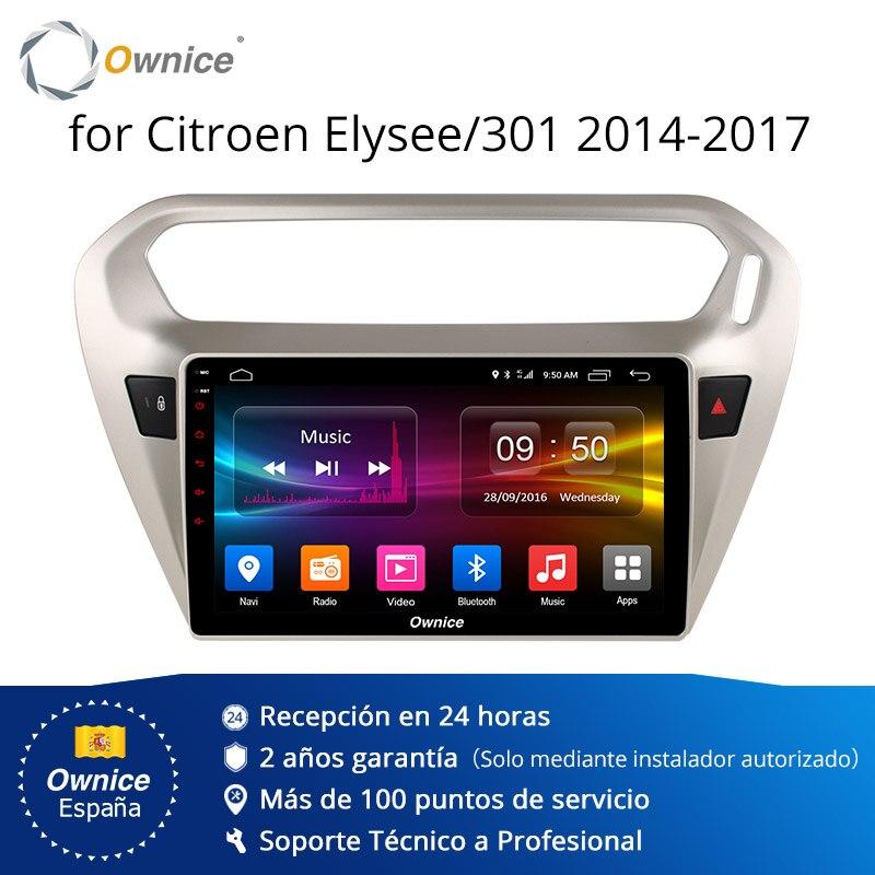 Ownice K1 K2 Android 8.1 huit core 2 Din lecteur radio dvd voiture gps navi Auto pour Peugeot 301 citroën Elysee 2014 2015 2016