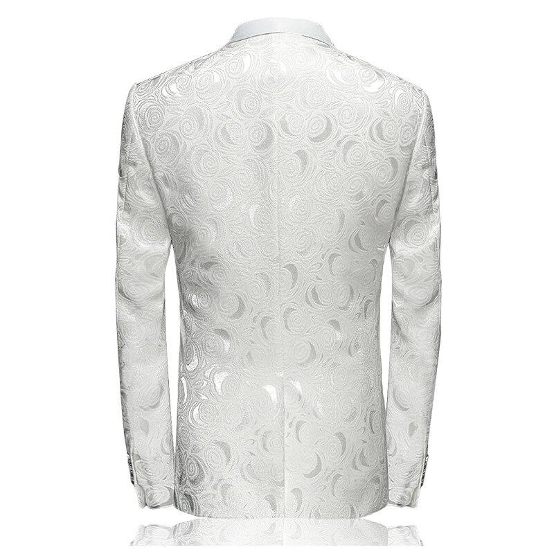 2018 Blazer Slim Fit Masculino Abiti Uomo Botton Wedding Prom Blazers Single button White For Men Stylish Suit Jacket 4XL EM061 2
