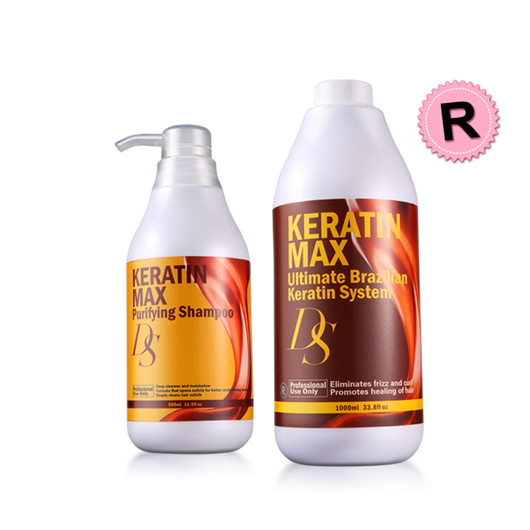 Hot Sale DS Max 1000ml Brazilian Keratin 12% Formalin Hair Treatment+500ml Purifying Shampoo Straighten and Smoothing Hair цена