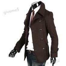 2011 Зимняя Мода Fit Траншеи мужская Куртка Пальто Браун Шерстяной Ткани Оптовая