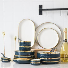 Blue Ceramic Dinner Plate Gold Edge Kitchen Tableware Set Luxury Western Tray Beef Dessert Cake Dish Spoon Bowl 1pc