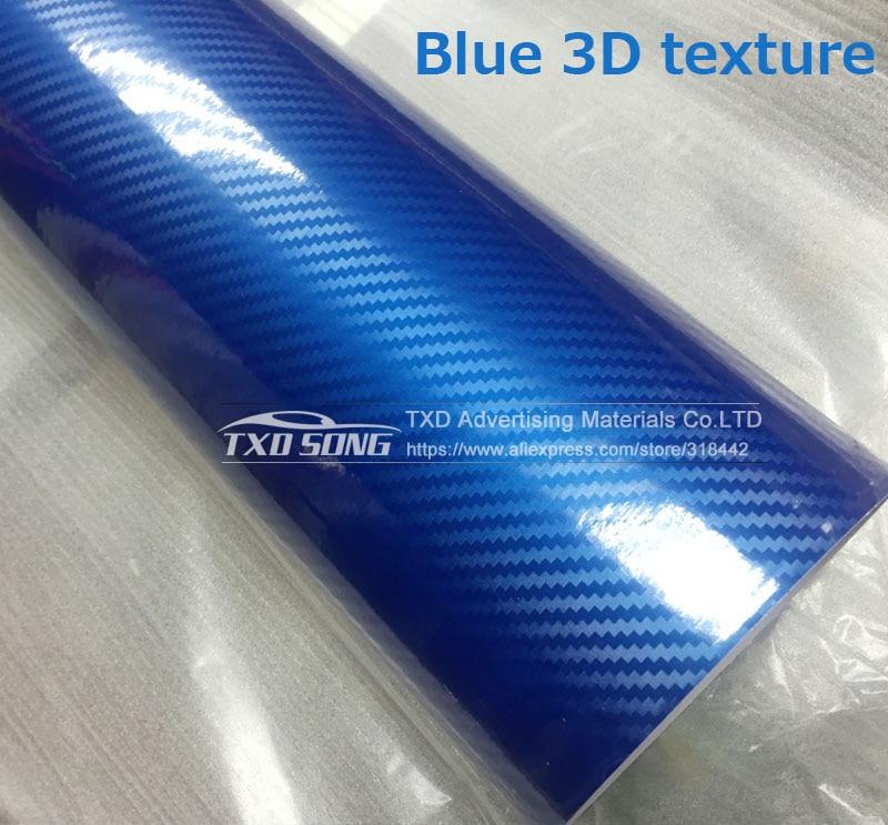 Высокое качество ультра-синий глянец 5D углеволоконная виниловая Обёрточная бумага 4D текстура супер глянцевая 5D углерода Обёрточная бумага s с 10/20 Вт, 30 Вт/40/50/60X152 см - Название цвета: blue 3d texture