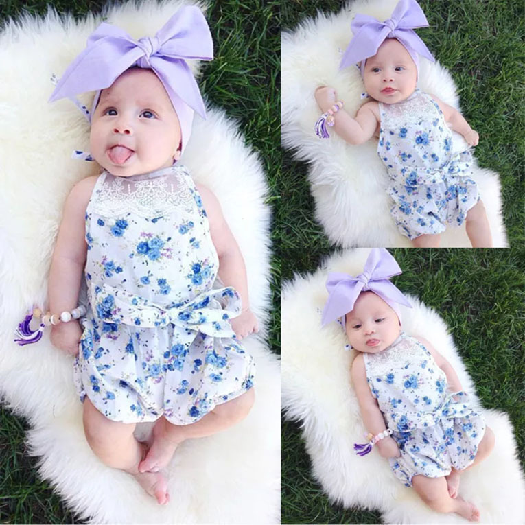 Infant Blue Floral Bodysuits Summer Set Halter Neck Black Lace Clothes Toddle Cute Bodysuits Without Headwear